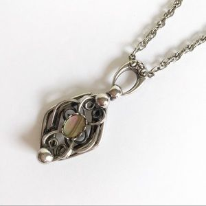 Jewelry - Silver Tone Abalone Pendant Chain Necklace